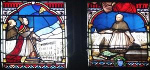 la grande verrière de la chapelle: M. Levoyer et Mgr Angebaul et. M. Drouet, fondateurs du nouveau et de l'ancien collège